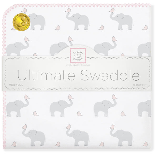 Ultimate Swaddle Blanket - Elephant & Chickies, Pastel Pink