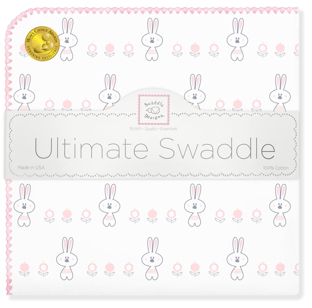 Ultimate Swaddle Blanket - Garden Bunnie, Pastel Pink - Customized