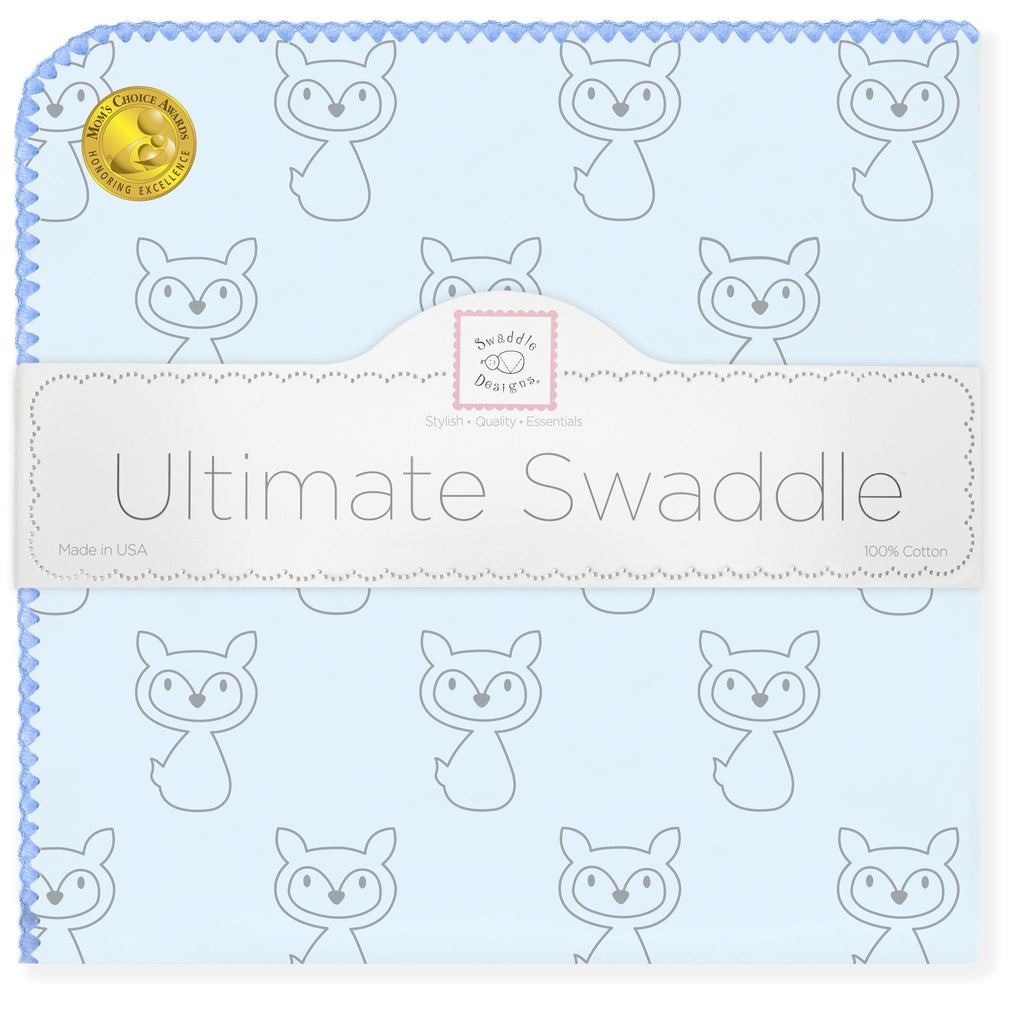 Ultimate Swaddle Blanket - Gray Fox, Blue - Customized