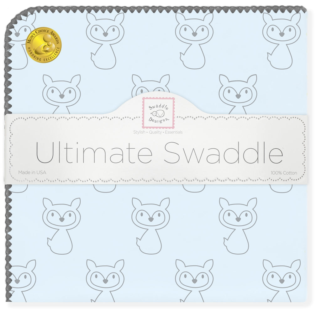 Ultimate Swaddle Blanket - Gray Fox, Blue with Gray Trim - Customized
