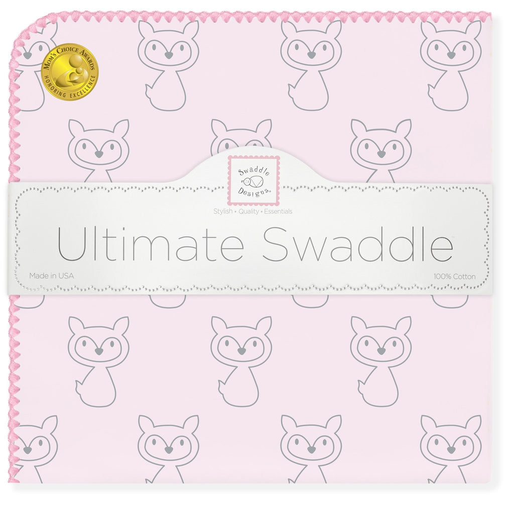 Ultimate Swaddle Blanket - Gray Fox, Pink - Customized