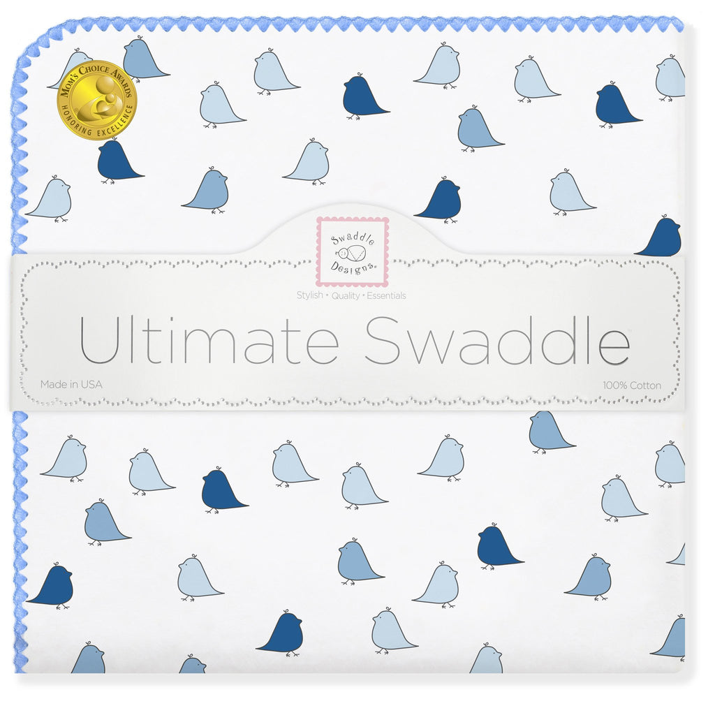 Ultimate Swaddle Blanket - Little Chickies, Blue - Customized