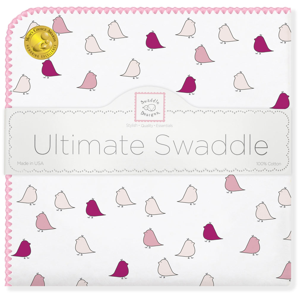Ultimate Swaddle Blanket - Little Chickies, Pink - Customized
