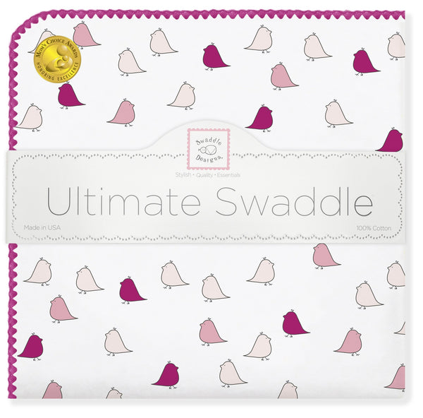 Ultimate Swaddle Blanket - Little Chickies, Very Berry - Customized