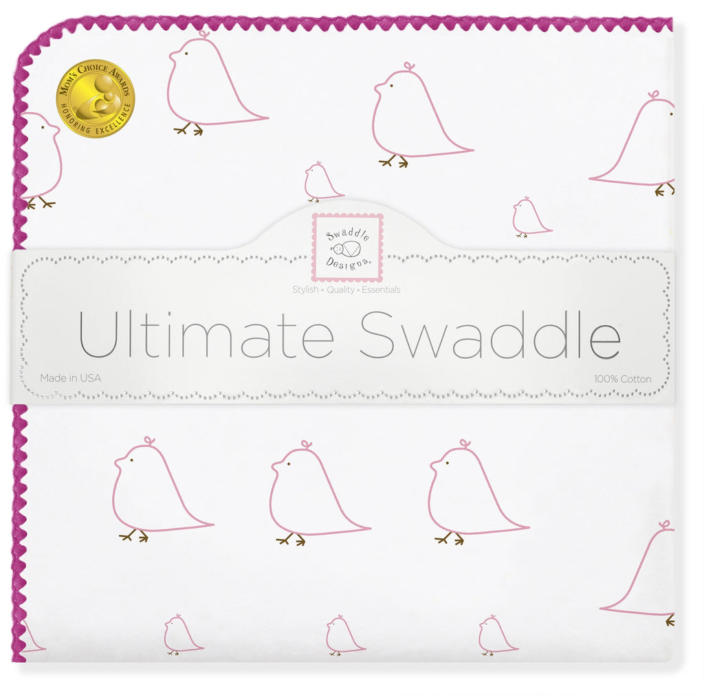 Ultimate Swaddle Blanket - Mama & Baby Chickies, Pink - Customized