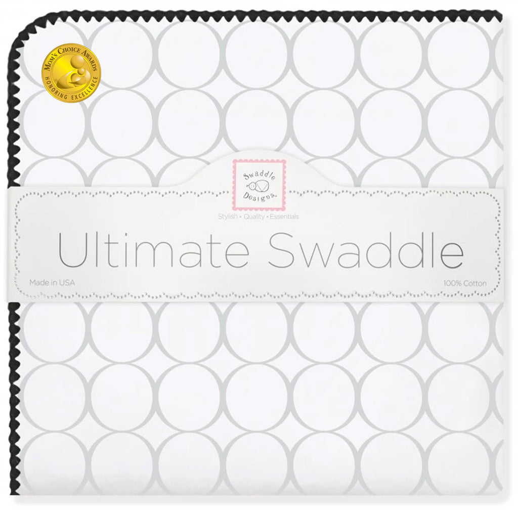 Ultimate Swaddle Blanket - Mod Circles on White, Sterling w/ Black