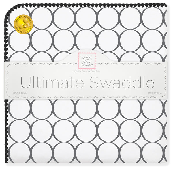 Ultimate Swaddle Blanket - Mod Circles on White, Black