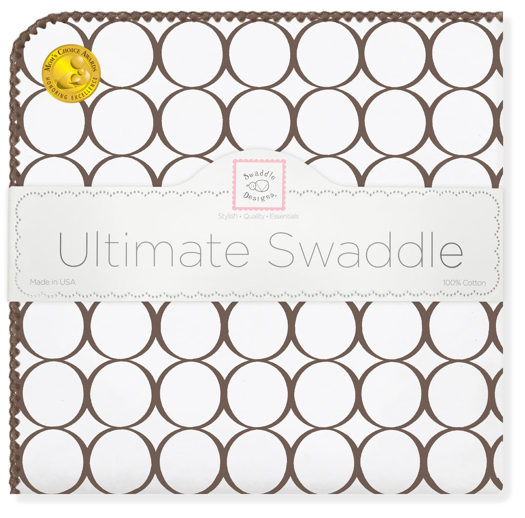 Ultimate Swaddle Blanket - Mod Circles on White, Brown