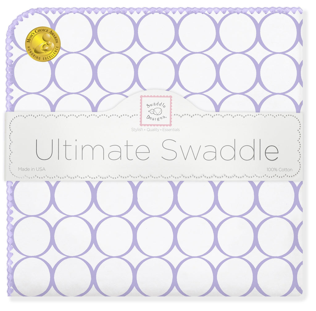 Ultimate Swaddle Blanket - Mod Circles on White, Lavender - Customized