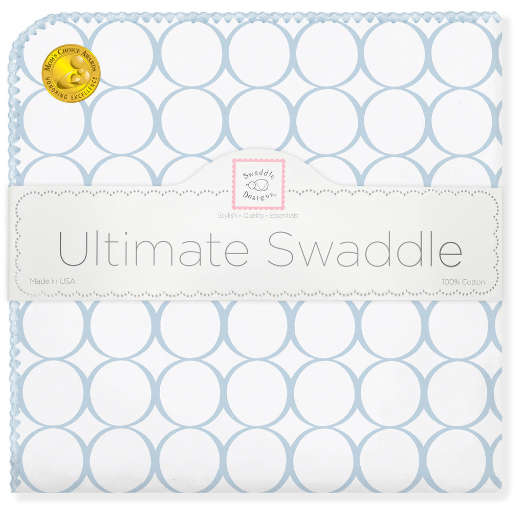 Ultimate Swaddle Blanket - Mod Circles on White, Pastel Blue