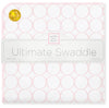 Ultimate Swaddle Blanket - Mod Circles on White, Pastel Pink