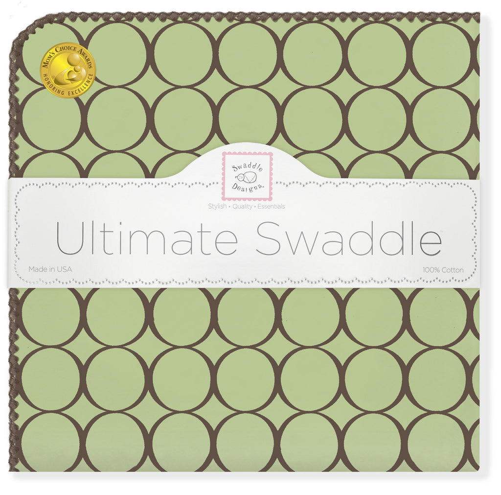 Ultimate Swaddle Blanket - Brown Mod Circles, Lime - Customized