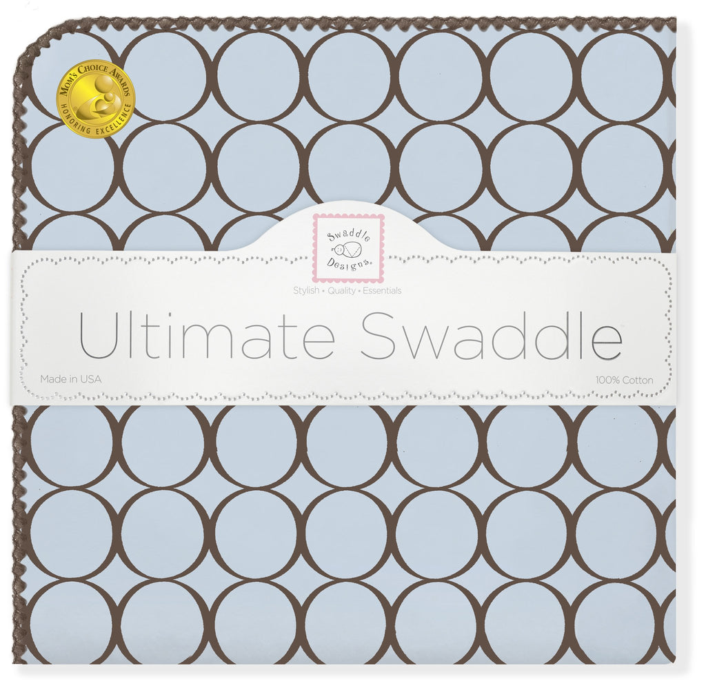 Ultimate Swaddle Blanket - Brown Mod Circles, Pastel Blue - Customized