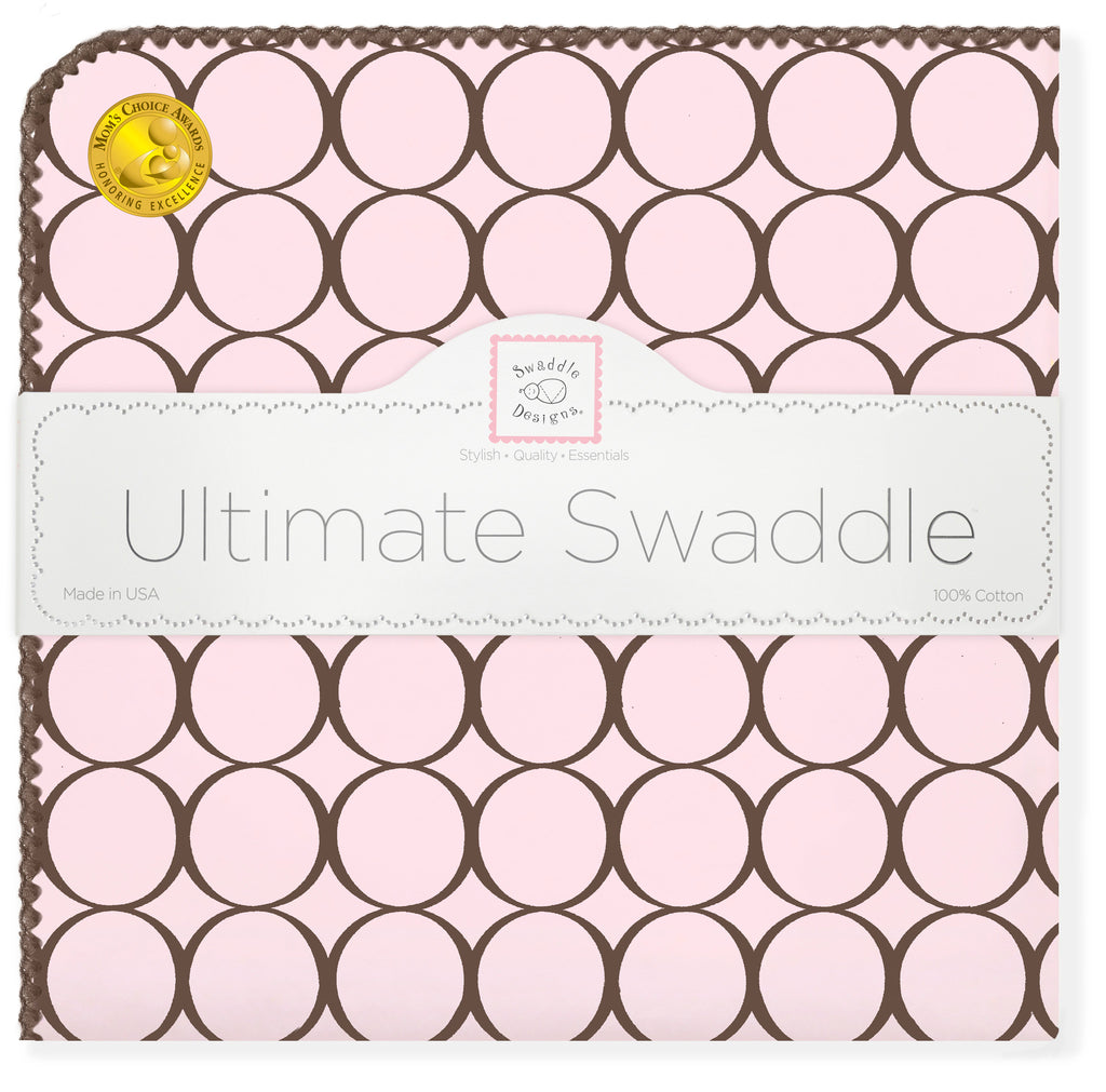 Ultimate Swaddle Blanket - Brown Mod Circles, Pastel Pink