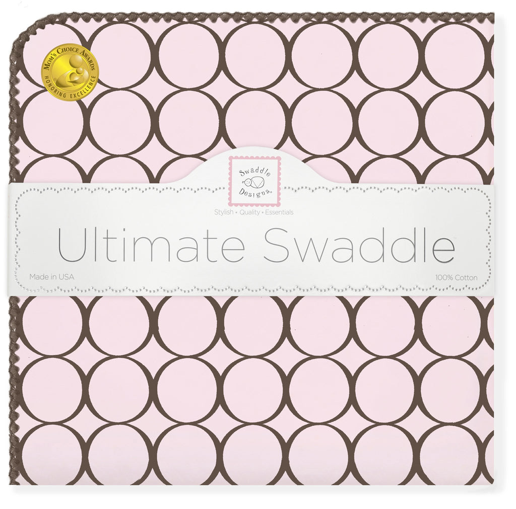 Ultimate Swaddle Blanket - Brown Mod Circles, Pastel Pink - Customized
