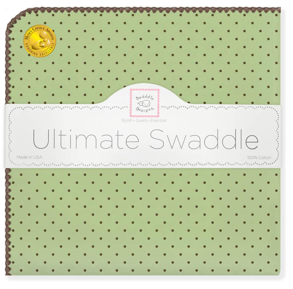 Ultimate Swaddle Blanket - Brown Polka Dots, Lime