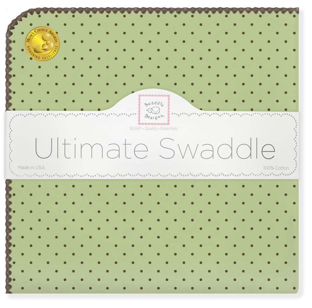 Ultimate Swaddle Blanket - Brown Polka Dots, Lime - Customized