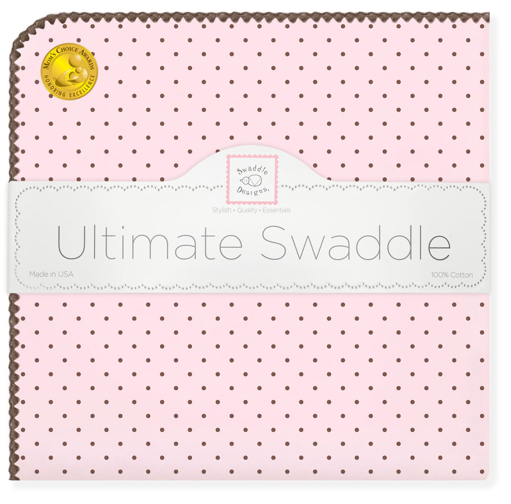 Ultimate Swaddle Blanket - Brown Polka Dots, Pastel Pink