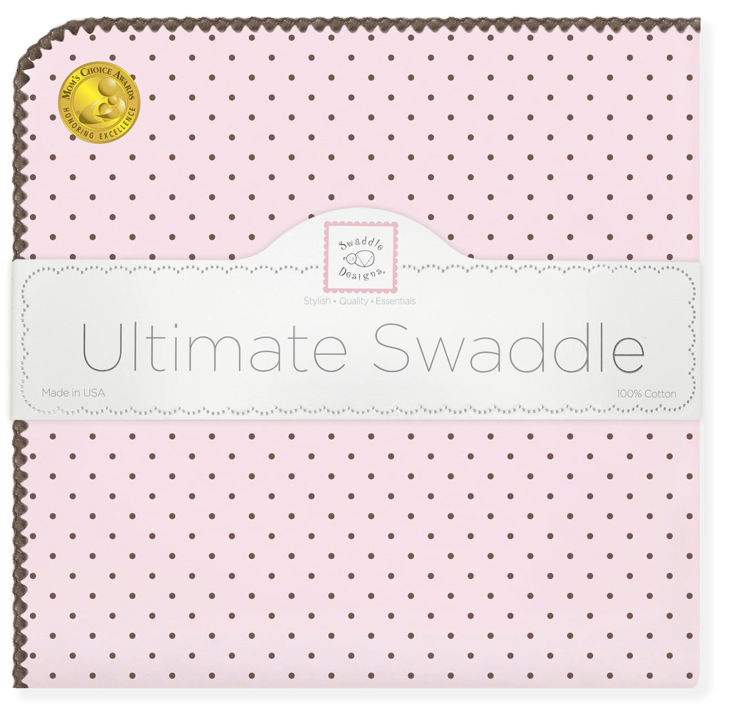 Ultimate Swaddle Blanket - Brown Polka Dots, Pastel Pink - Customized