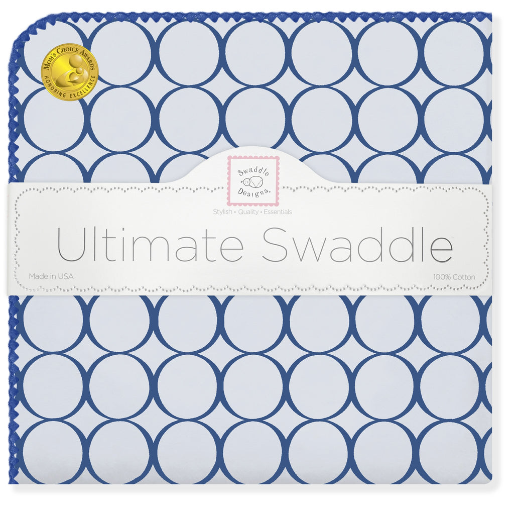 Ultimate Swaddle Blanket - Jewel Mod Circles, True Blue - Customized