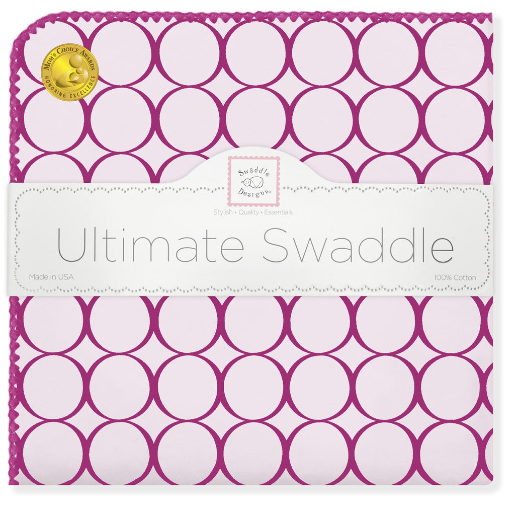 Ultimate Swaddle Blanket - Jewel Mod Circles, Very Berry - Customized