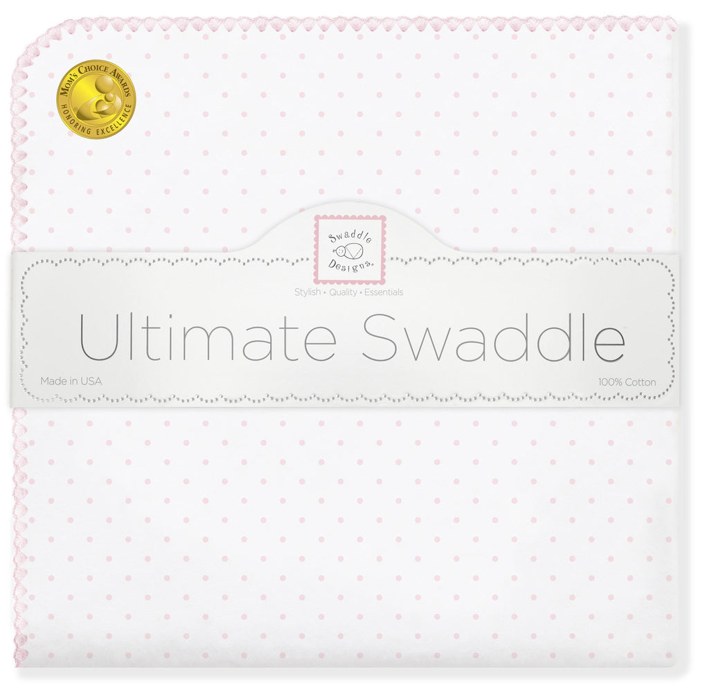Ultimate Swaddle Blanket - Classic Polka Dots, Pastel Pink - Customized