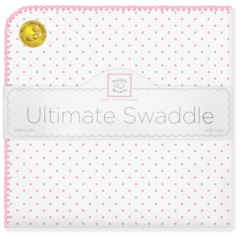 Ultimate Swaddle Blanket - Classic Polka Dots, Pink - Customized