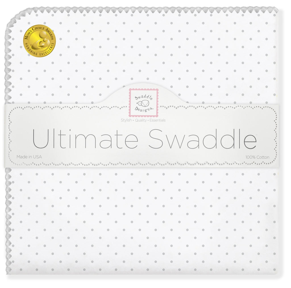 Ultimate Swaddle Blanket - Classic Polka Dots, Sterling - Customized