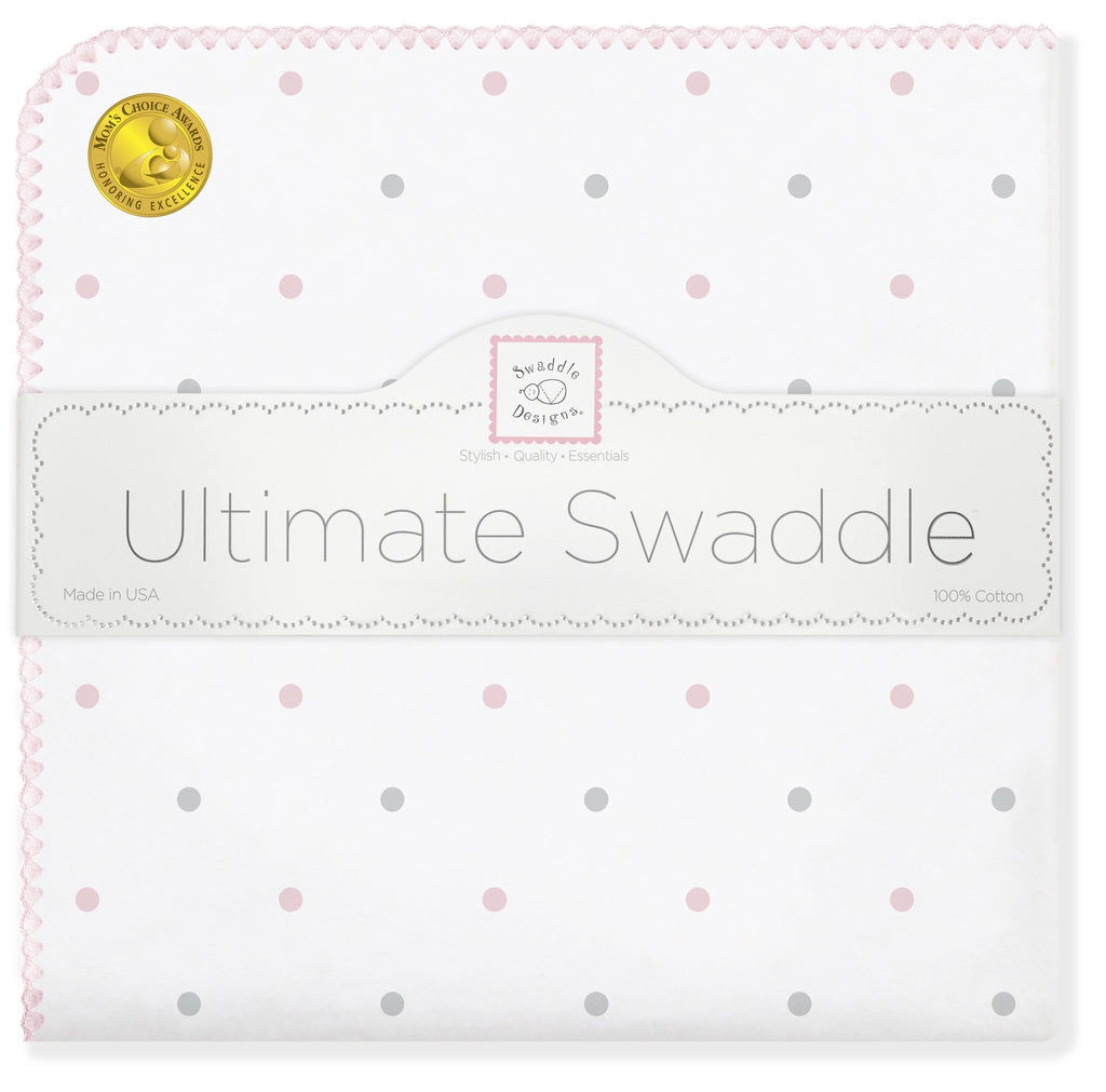Ultimate Swaddle Blanket - Sterling Little Dots, Pastel Pink - Customized
