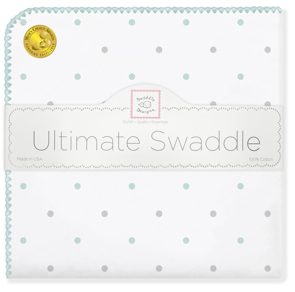 Ultimate Swaddle Blanket - Sterling Little Dots, Seacrystal - Customized