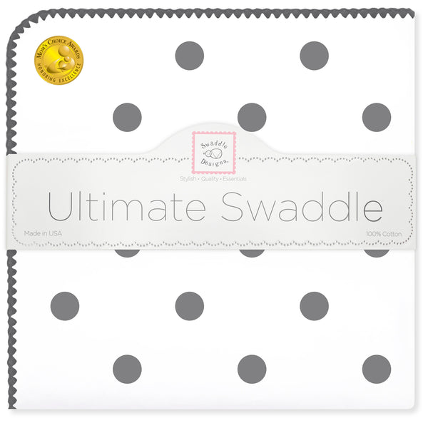Ultimate Swaddle Blanket - Soft Black Big Dots, Soft Black