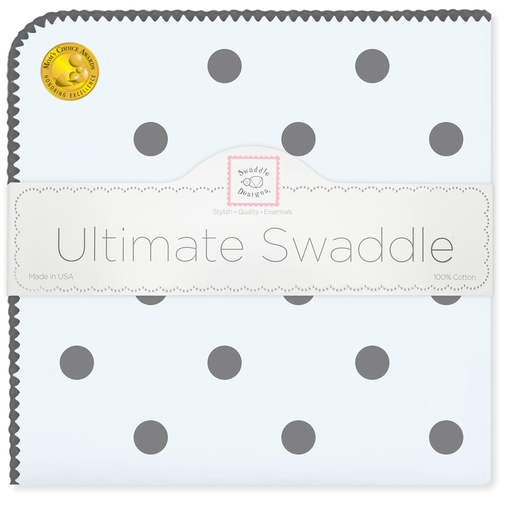 Ultimate Swaddle Blanket - Soft Black Big Dots, Blue