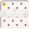 Ultimate Swaddle Blanket - Soft Black Big Dots, Pink