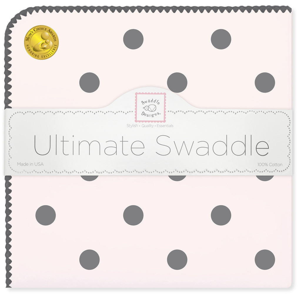 Ultimate Swaddle Blanket - Soft Black Big Dots, Pink - Customized