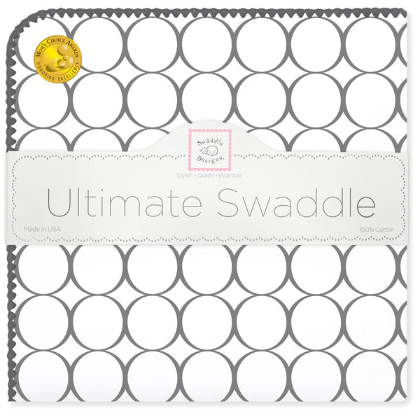 Ultimate Swaddle Blanket - Soft Black Mod Circles, Soft Black