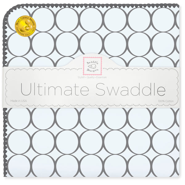 Ultimate Swaddle Blanket - Soft Black Mod Circles, Soft Blue