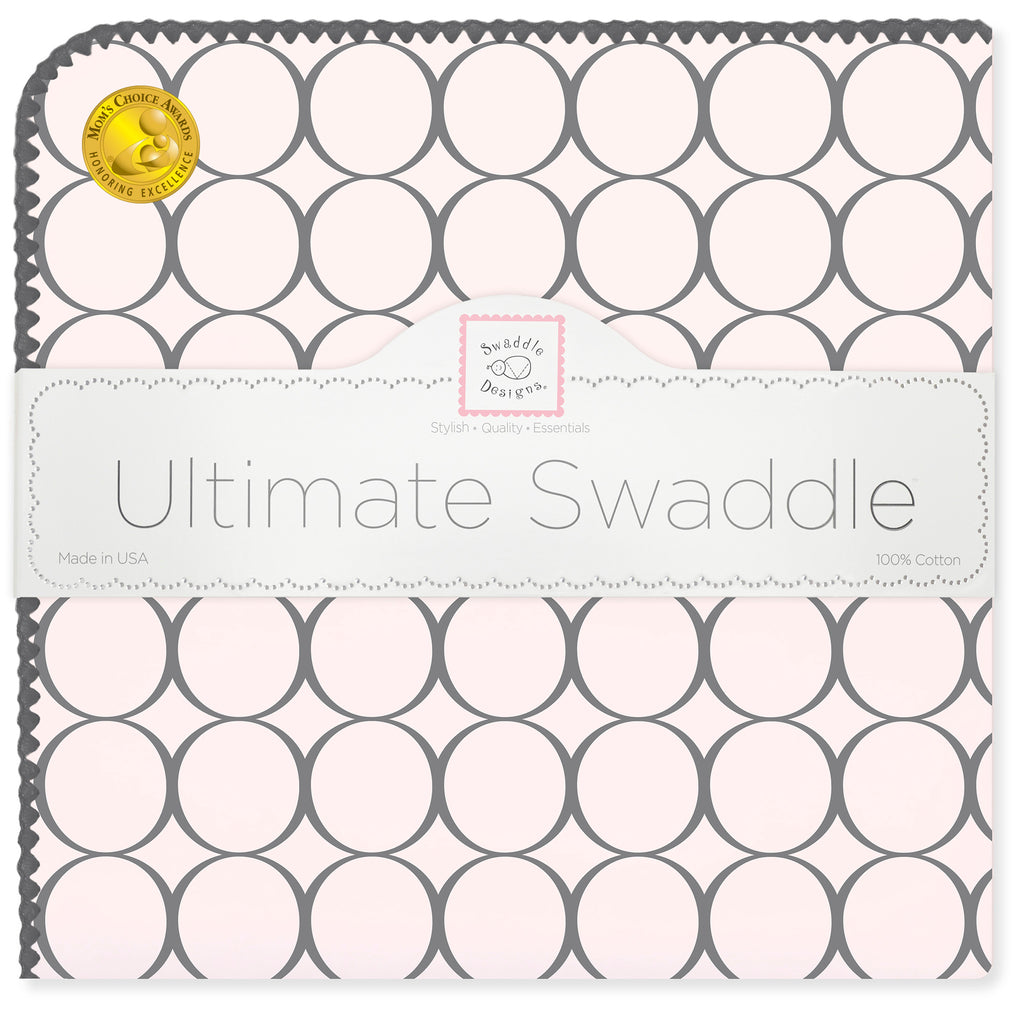 Ultimate Swaddle Blanket - Soft Black Mod Circles, Soft Pink