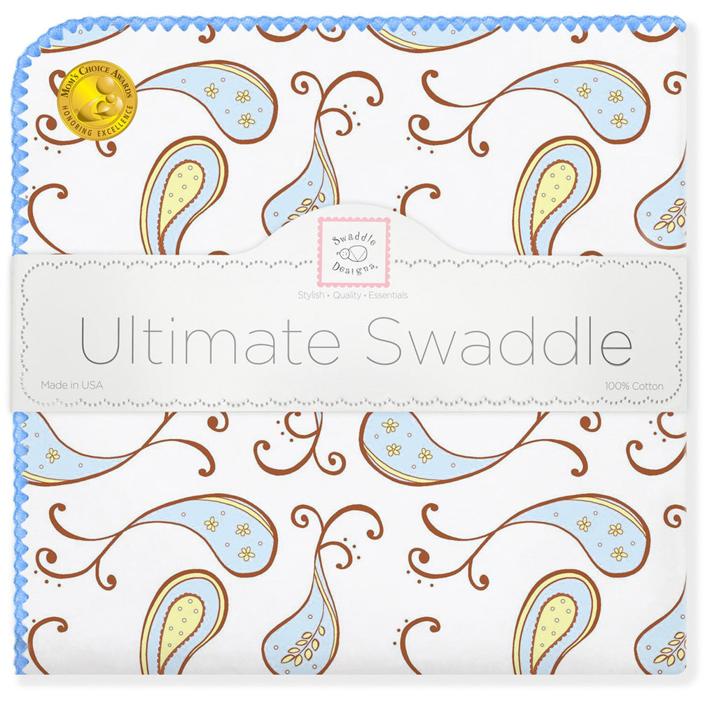 Ultimate Swaddle Blanket - Triplets Paisley, Pastel Blue - Customized