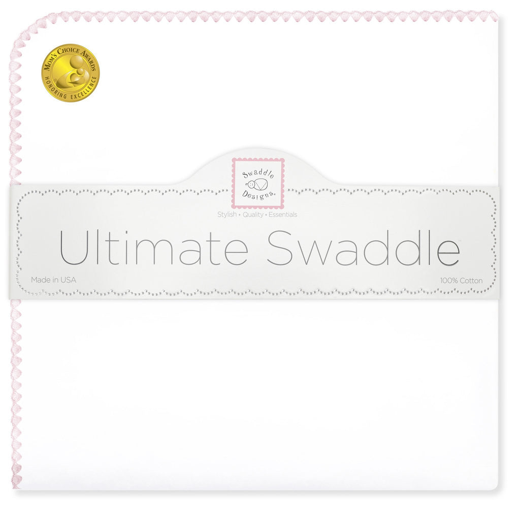 Ultimate Swaddle Blanket - White with Pastel Trim, Pastel Pink - Customized