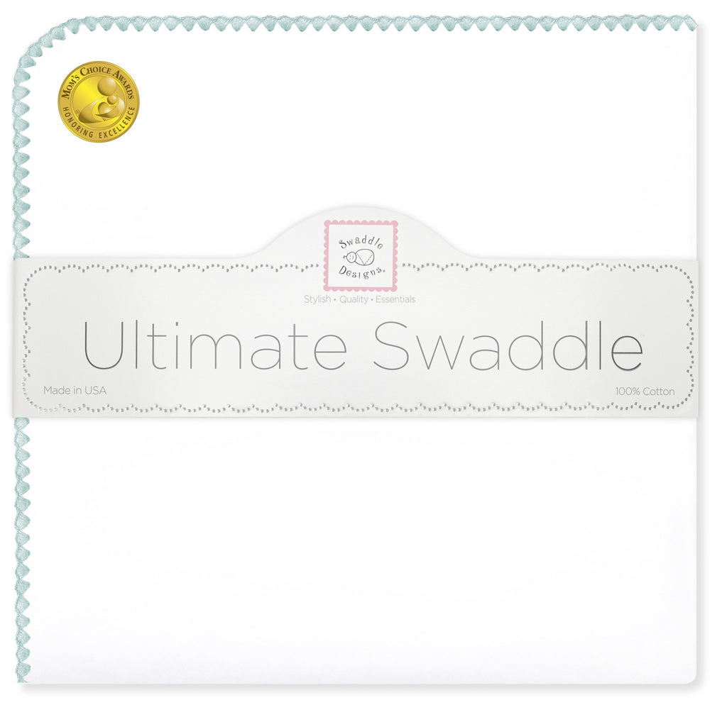 Ultimate Swaddle Blanket - White with Pastel Trim, SeaCrystal - Customized