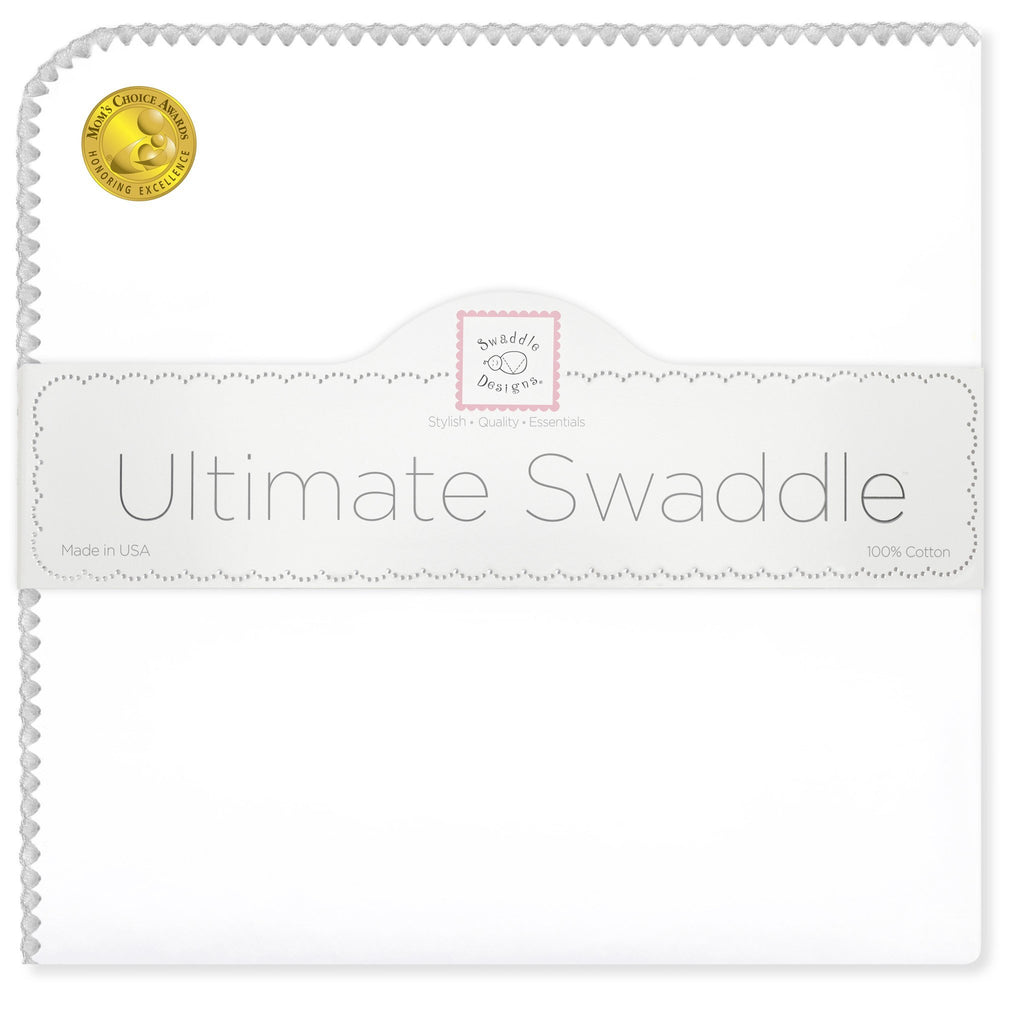 Ultimate Swaddle Blanket - White with Pastel Trim, Sterling - Customized