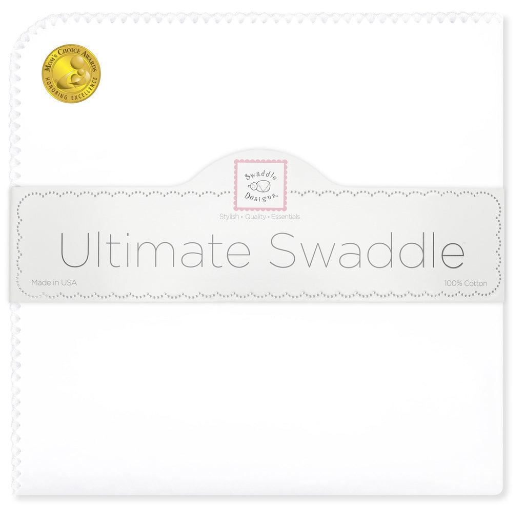 Ultimate Swaddle Blanket - White with Pastel Trim, White - Customized