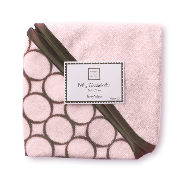 Terry Velour Baby Washcloths - Brown Mod Circles, Pastel Pink