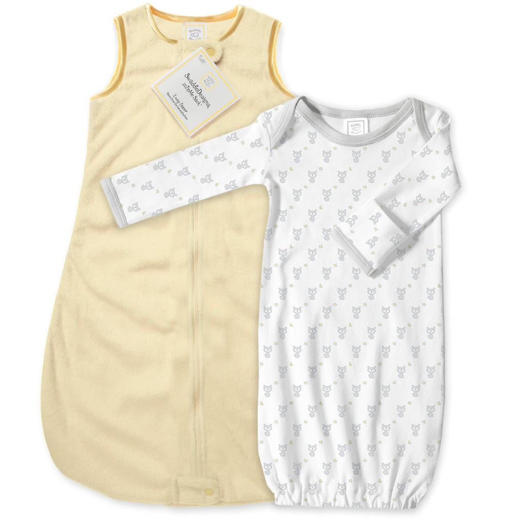 Baby Velvet Microfleece zzZipMe Sack Set - Pastel Yellow + Tiny Fox