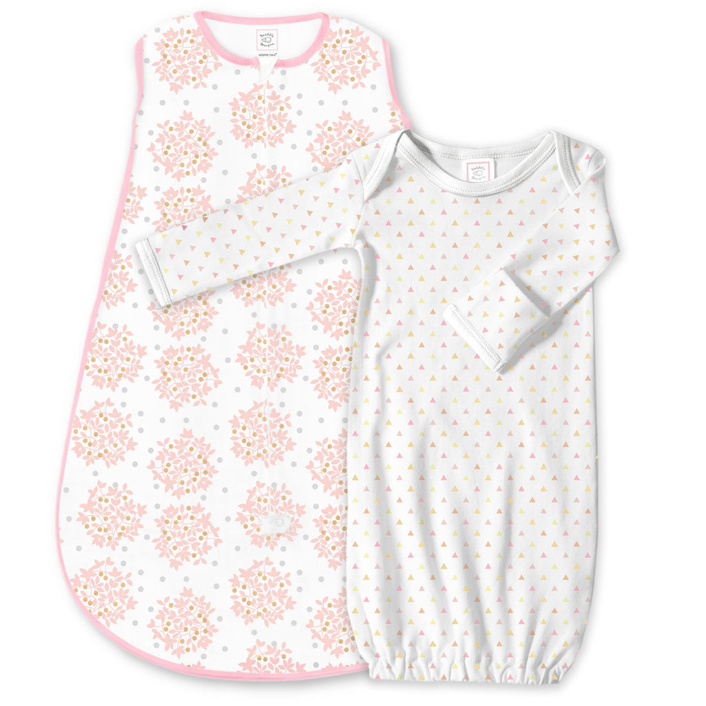 Cotton Knit zzZipMe Sack Set - Heavenly Floral and Tiny Triangles Shimmer, Pink
