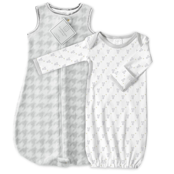 Cozy Sterling Puppytooth zzZipMe Sack + Gown Set