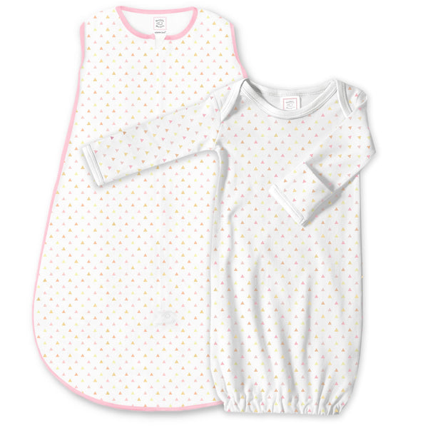 Cotton Knit zzZipMe Sack Set - Tiny Triangles Shimmer, Pink