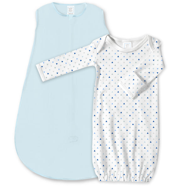 Cotton Knit zzZipMe Sack Set - Pastel Blue + Tiny Triangles Shimmer Gown