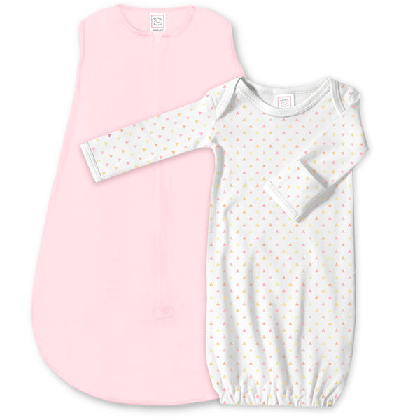 Cotton Knit zzZipMe Sack Set - Pastel Pink + Tiny Triangles Shimmer Gown