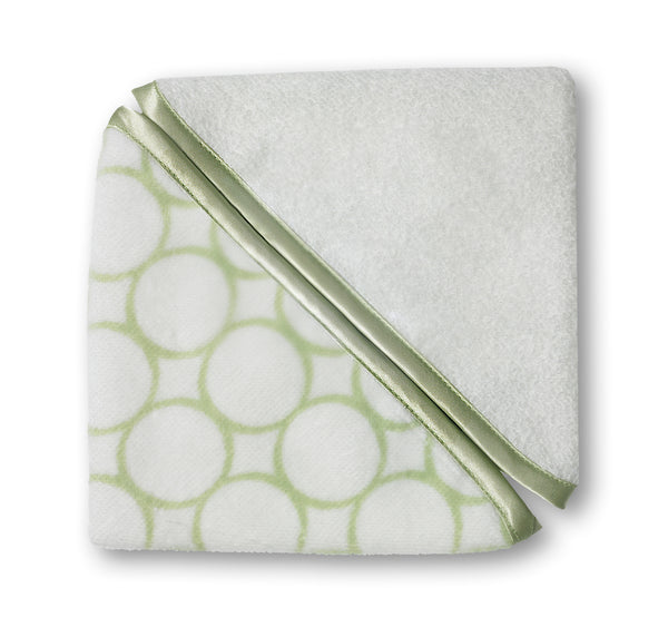 Organic Baby Washcloths - Mod Circles on Ivory, Kiwi